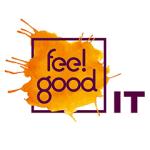 fee!good logo: Text auf orangen Fleck innerhalb eines dunklen Rahmens, daneben die Bcuhstaben IT